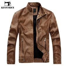 kenntrice spring autumn brand leather jacket men slim short stand collar jaqueta couro er jacket faux