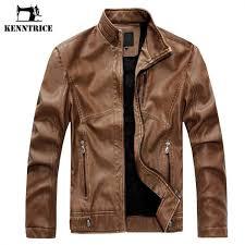 kenntrice spring autumn brand leather jacket men slim short stand collar jaqueta couro er jacket faux