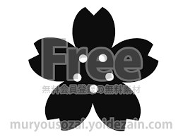 桜のイラスト白黒 無料イラストかわいいフリー素材画像写真