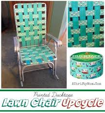 Duct tape furniture Wood Lawn Chair Upcycle With Ducktape Great For Glampers Or Themed Parties Thrifty Mom Recipes Crafts Diy And More Thrifty Mom Lawn Chair Upcycle With Ducktape Great For Glampers Or Themed