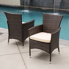 malta outdoor wicker dining chair with cushion by christopher knight home set of 2 free today 17298403