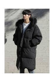 black rac fur long puffer coats