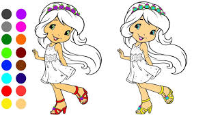 Strawberry Girl Coloring Game L Coloring Book Learn Colors For