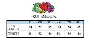 Fruit And Loom Size Chart Fruit Of The Loom Size Chart Large Lad Clothing