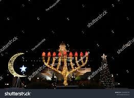 Christmas Lights Star Of David Decembers Holidays Symbols Israel Christmas Tree Stock Photo