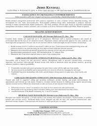 Resume Sample Of Sales Manager Fresh Sample Car Sales Resume