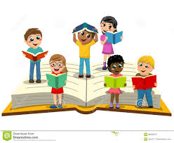 multiracial kids or children reading big open book isolated multiracial kids or children reading on