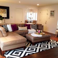 white area rug living room. Black And White Area Rug In The Living Room. Pops Of Fuschia Too. Sectional Room R