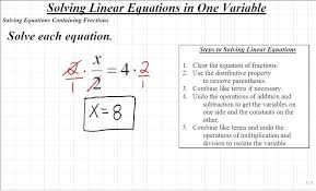 solving equations intermediate algebra solving equations containing fractions solving equations with variables on both sides worksheet