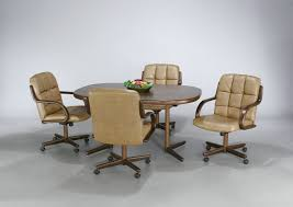 dining table with rolling chairs amazing incredible room casters kitchentoday home ideas 5