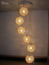 6 light natural rattan woven ball stair pendant light free shipping living room pendant lamp bedroom hallway gallery pendant lamp fixtures ball pendant lighting
