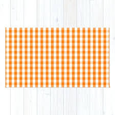 classic pumpkin orange and white gingham check pattern rug rugby stripe curtains