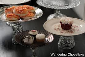 Easy to make cake stands out of pressed glass goblets and old plates.