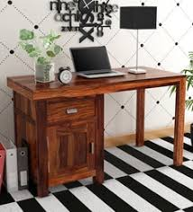 oriel solid wood study and laptop table in honey oak finish