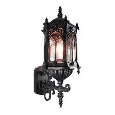 etoplighting rococo collection oil rubbed matt black finish exterior outdoor lantern light clear glass wall apl1117