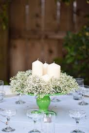 Lime Green Cake Stand with Candles and Baby's Breath Ring Wedding  Centerpiece. would be great without the lime green!
