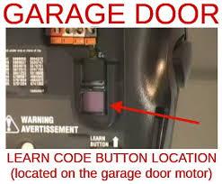 location of garage door opener learn on