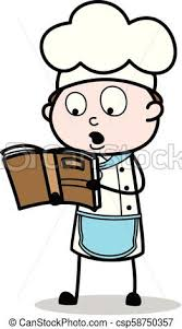 cartoon chef reading recipe book vector ilration