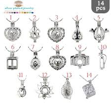 bulk 5pcs 14pcs sterling silver plated pearl cage pendant sp005 pearl oyster