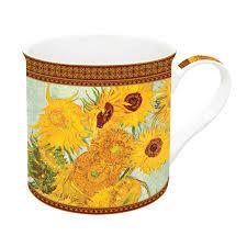 Easy Life Design Coffee Mugs Porcelain Mug 300 Ml In Gift Box Vase With Twelve Sunflowers