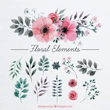 Flower Decoration Design Floral Decoration Painted With Watercolor Vector Free Download 42