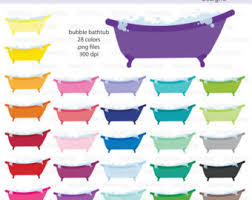 shower tub clipart. Bubble Bath Or Clawfoot Tub Icon Digital Clipart In Rainbow Colors - Instant Download PNG Files Shower