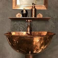 bathroom decor wall mount sink copper