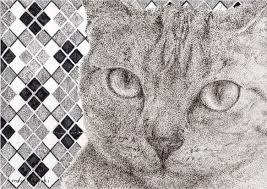 点描画の猫a4イラスト 我輩は点である