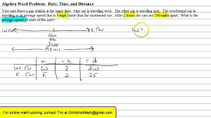 algebra word problem rate time and distance