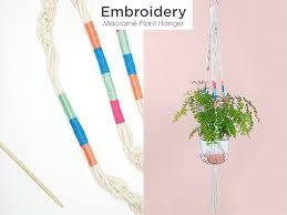 embroidered macrame hanger