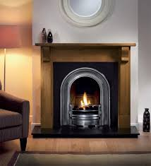 bedford 48 inch wooden fireplace package with coronet cast iron fire insert