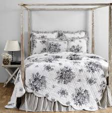 Josephine Black Toile Floral Quilt by VHC Brands | Retro Barn ... & Josephine Black Toile Quilt - Retro Barn Country Linens - 1 Adamdwight.com
