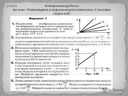 Презентация на тему i ступень начальное образование i iv  11 Контрольная работа 1 по теме Равномерное и неравномерное движение Сложение скоростей 9 класс
