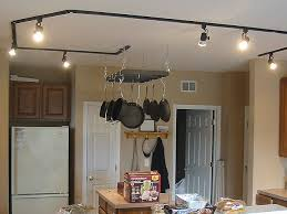 led track lighting for kitchen. astounding kitchen track lights ideas with led lighting combining various sized pans hanging for s