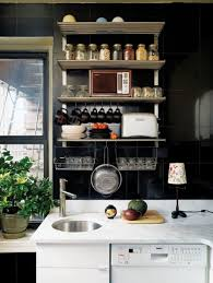 Entertaining Small Kitchens Ideas in Modern Living Space : Black Wall Tiles  In Modern Small Kitchen