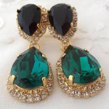 emerald green and black chandelier earrings green gold bridal