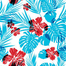 Summer Pattern Adorable Bright Seamless Summer Pattern With Palm Tree Leaves And Hibiscus