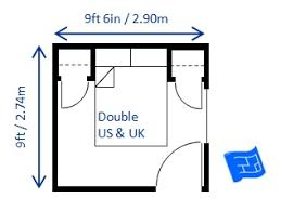 Charming Minimum Bedroom Size For Double Bed 9ft X 9ft 6in ...