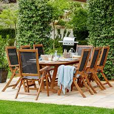 john lewis this fsc certified eucalyptus table and chair set has a real modern dining feel big enough to seat a family or lay out a buffet picnic style