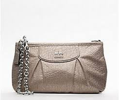 COACH Madison Embossed Metallic Leather Large Wristlet with Chain Silver   Slate