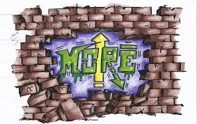 broken brick wall with graffiti letters