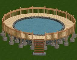 Round Brown Wooden Pool Decks For Above Ground Pools In A Beautiful Design