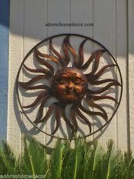 large round metal sun wall decor rustic