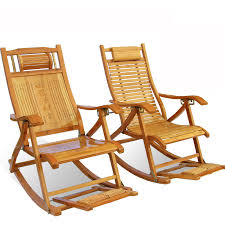 Foldadble <b>Bamboo Rocking Chair</b> Recliner Rest Lounge Deck Chair ...