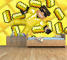 Kinderkamer Behang Minecraft Steve Goud Dielconl