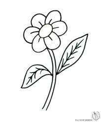 Disegno Di Fiore Con Foglie Da Colorare Per Bambini