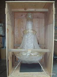 this large chandelier was safely shipped in a fully enclosed crate to its new home in newport beach ca