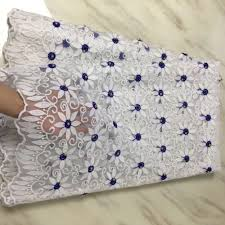 Embroidery Fabric Design Us 36 52 44 Off Beautiful Blue White 3d Flower Embroidery Gold Bead Lace Fabric Design Popular India Cloth For Women Wedding Party Dress 5 Yards In