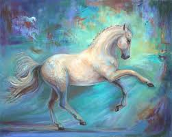 high quality abstract bed room decor painting artist handmade beautiful horse oil painting on canvas white