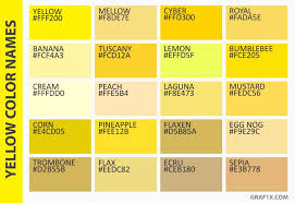 Shades Of Yellow Color Chart List Of Colors With Color Names Graf1x Com In 2019